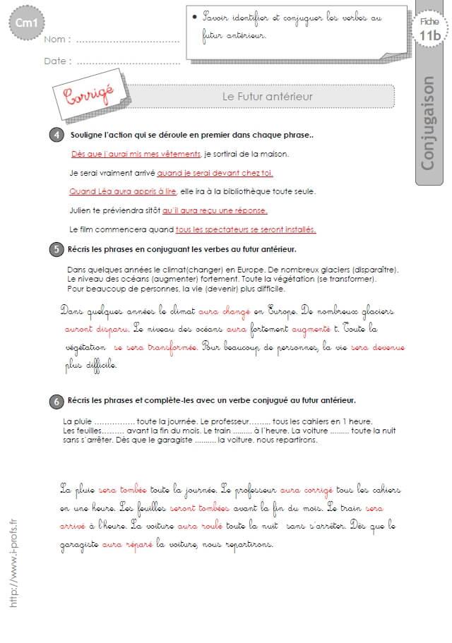 Cm2 exercices conjugaison corrig s futur ant rieur for Futur interieur