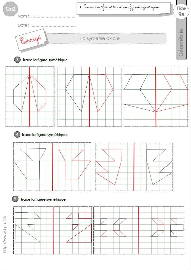 cm2: EXERCICES la SYMETRIE AXIALE figures symétriques