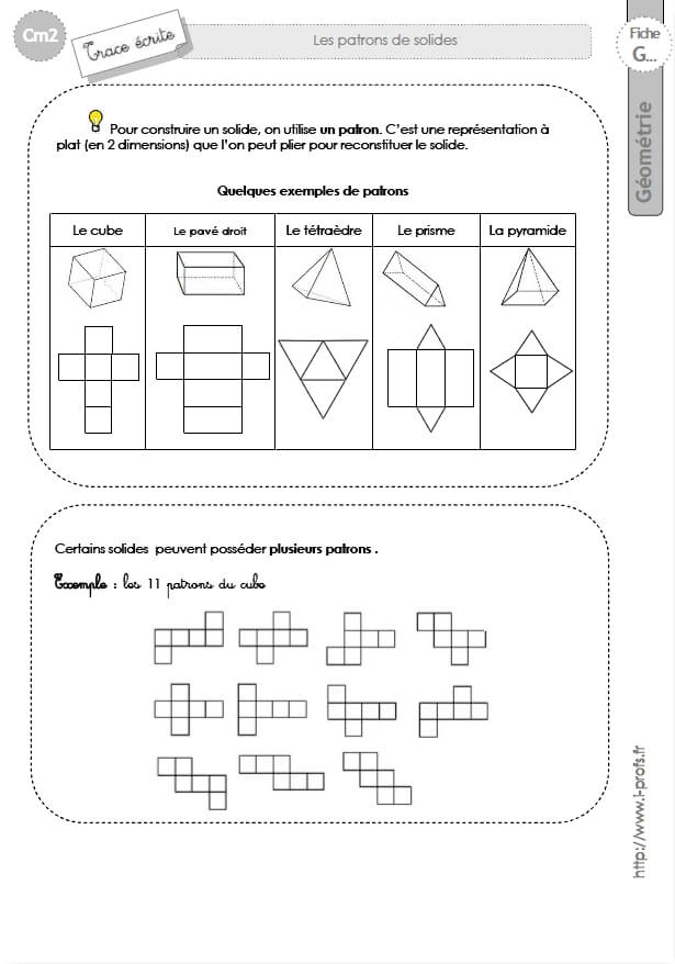 cm2: Leçon Les PATRONS DE SOLIDES