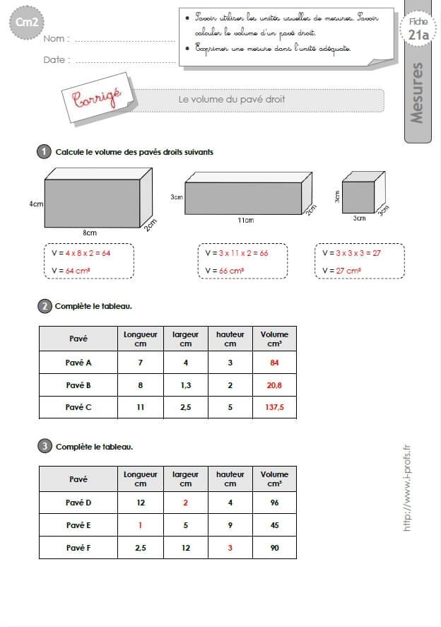 Cm2 exercices le volume d 39 un parallelepipede rectangle for Calculer le volume d une maison